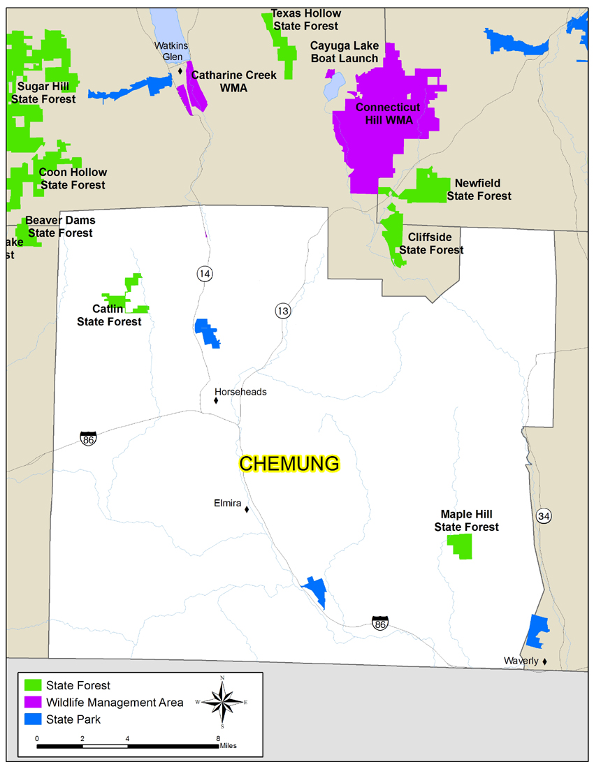 Map of Chemung County showing State owned lands open to public recreation
