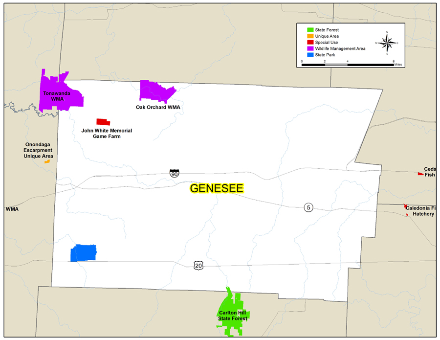 Map of Genesee County showing State owned lands open to public recreation