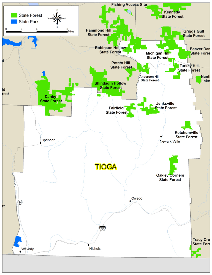 map of Tioga County